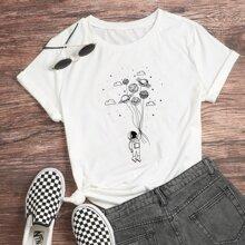 T-Shirt mit Astronaut und Planet Muster
