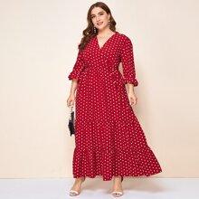 Kleid mit V-Kragen, Schosschenaermeln und mehrschichitigem Saum