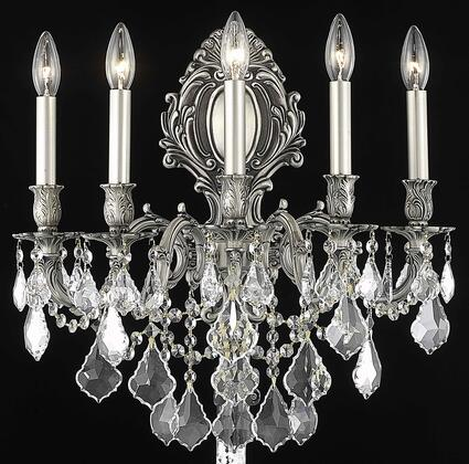 9605W21PW/SA 9605 Monarch Collection Wall Sconce W21in H24in E11in Lt: 5 Pewter Finish (Swarovski Spectra
