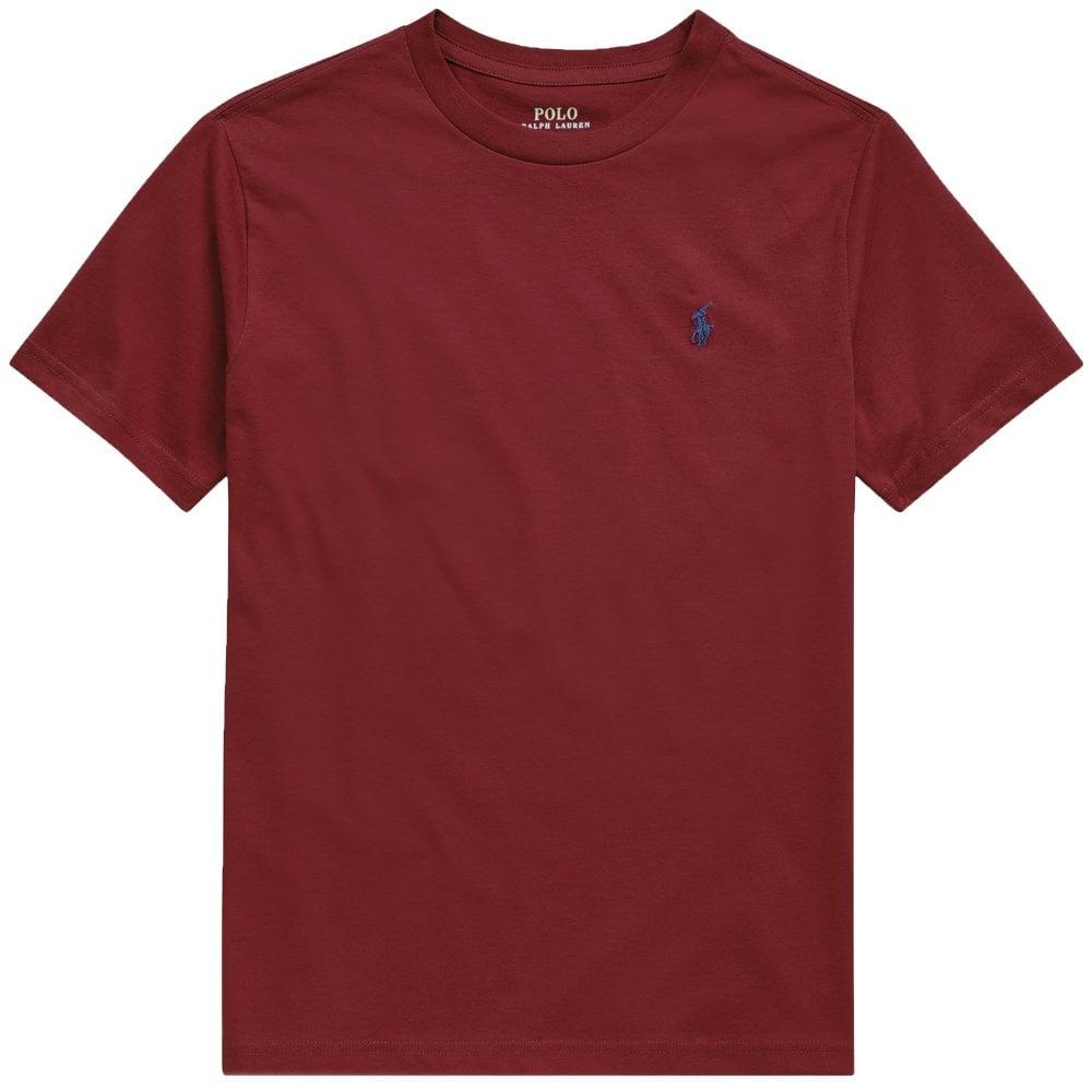 Ralph Lauren Kids Logo T-Shirt Burgundy Size: S (8 YEARS), Colour: BURGUNDY