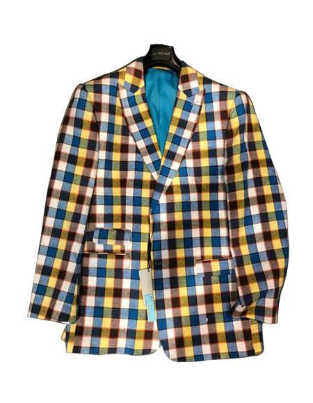 Mens Plaid ! Window Pane Blazer Sport Coat