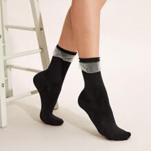 1pair Mesh Trim Ankle Socks