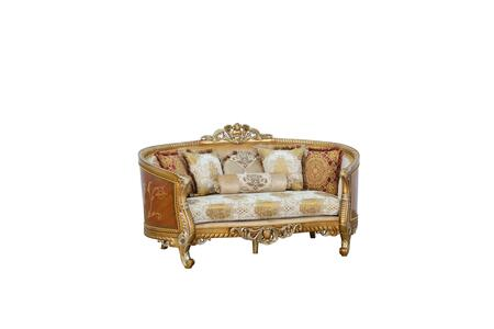 Luxor Collection II Luxury Loveseat  Hand Made & Hand Carved into Mahogany Wood Solid  in Brown Gold