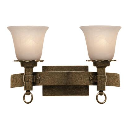 Americana 4202AC/PS15 2-Light Bath in Antique Copper with Penshell Natural Option 15 Glass
