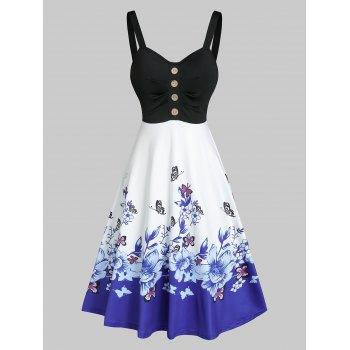 Floral Butterfly Print High Waist Cami A Line Dress