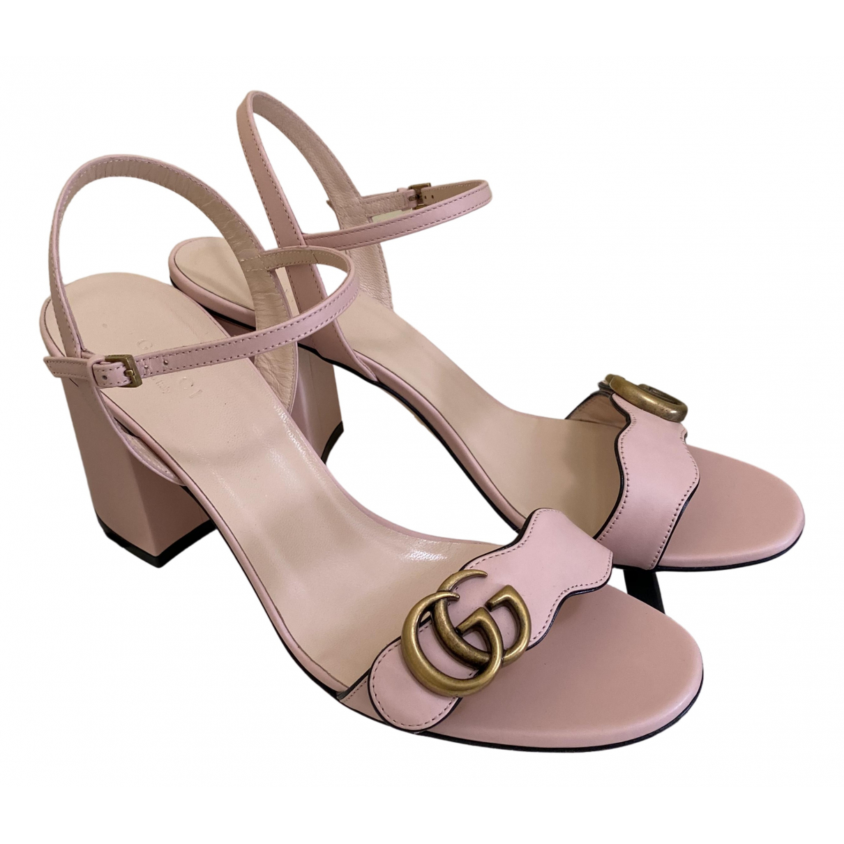 Gucci Marmont Pink Leather Sandals for Women 40 IT