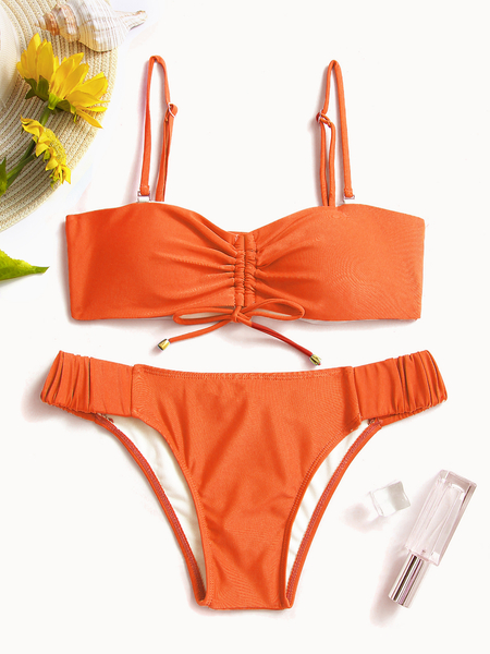 Yoins Orange Ruched Detailing Lace-up Front Mid-waisted Bandeau Bikini Set