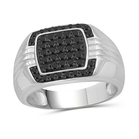 Mens 1/2 CT. T.W. Genuine Black Diamond Sterling Silver Ring, 11 , No Color Family