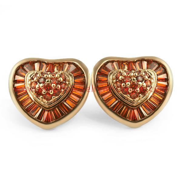 Chocolate Champagne Rose XL Baguette Heart CZ Earrings