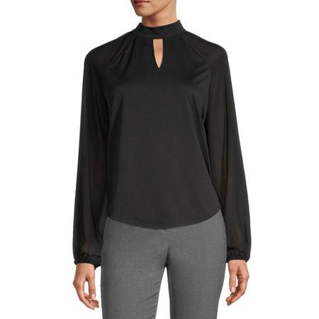 Worthington Womens Keyhole Neck Long Sleeve Blouse, Large , Black