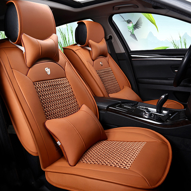 Simple Style PU Leather Plain Pattern Universal Car Seat Cover