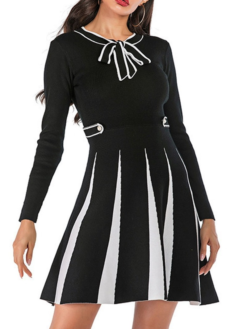 Ericdress Above Knee Bow Collar Lace-Up Pullover Fall Dress