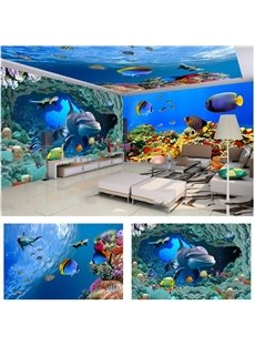 Blue Ocean Dolphin and Fish Pattern 3D Waterproof Ceiling and Wall Murals