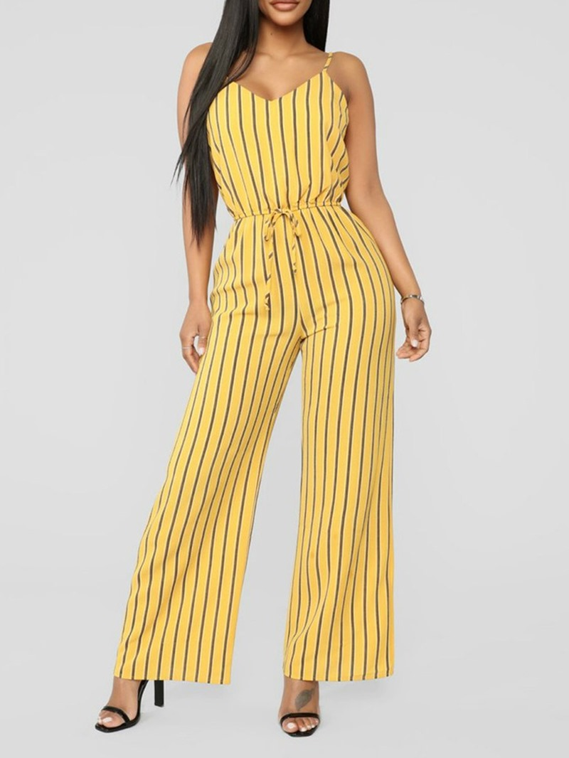 Ericdress Stripe Lace-Up Stripe Wide Legs Jumpsuit