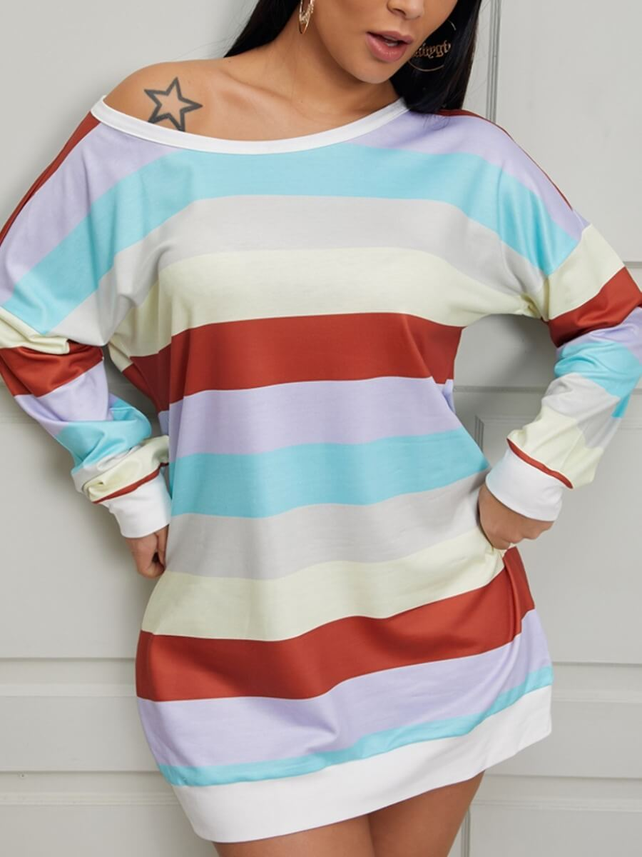 LW Lovely Casual O Neck Rainbow Striped Multicolor Mini Dress