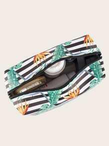1pc Leaf Print Striped Makeup Bag