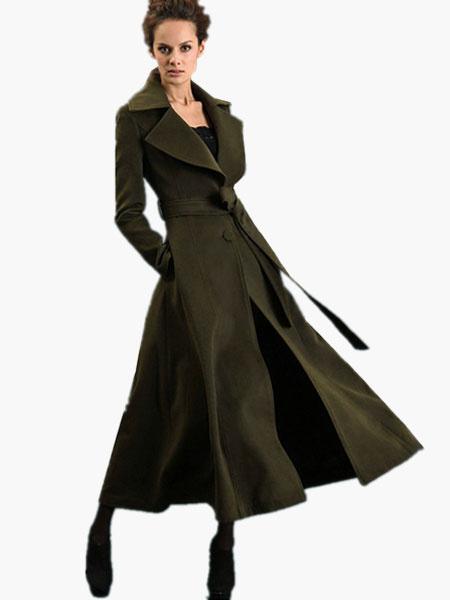 Milanoo Notch Collar Long Sleeves Maxi Wool Coat