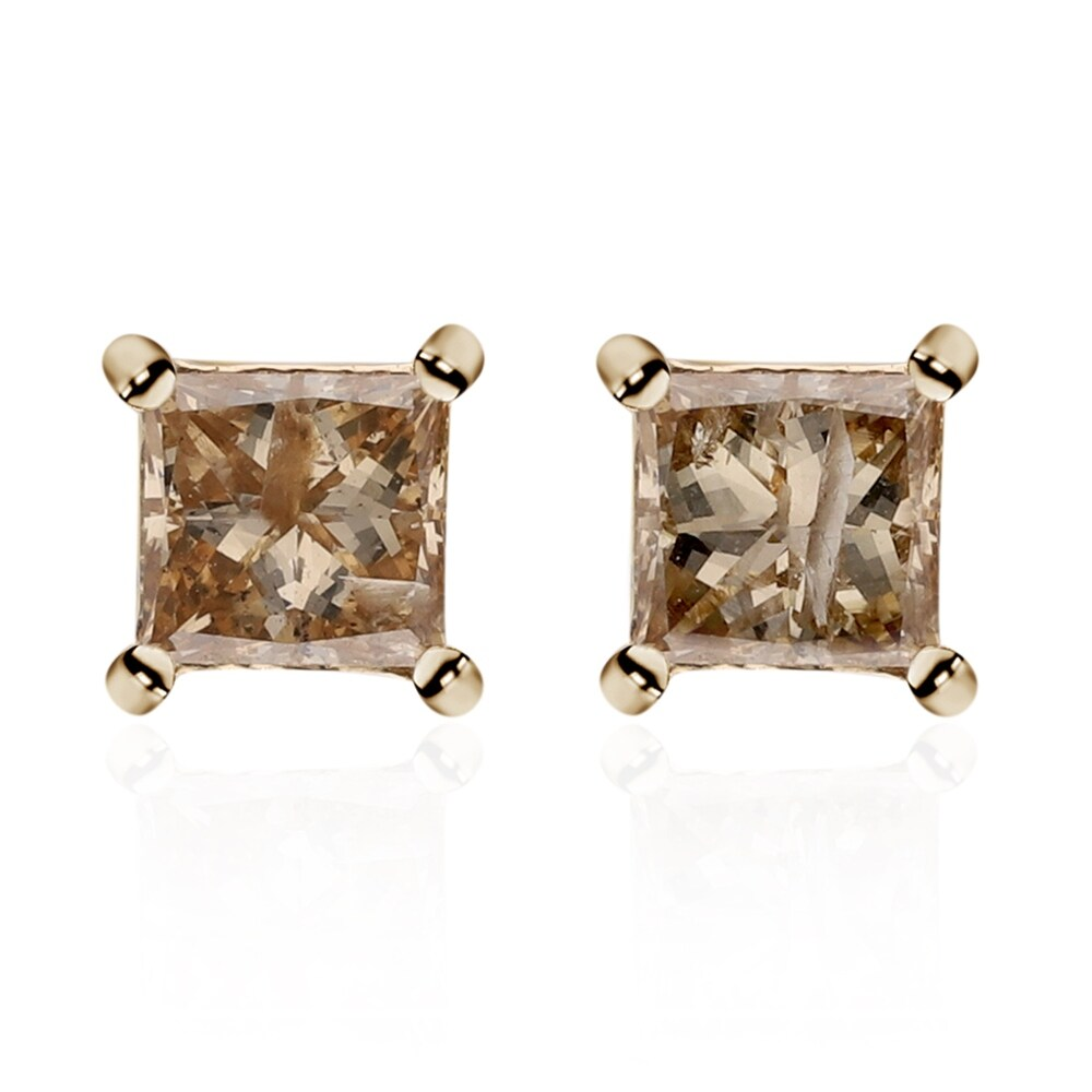 Yellow Gold White Diamond Stud Earrings Ct 0.8 H Color I3 Clarity (Yellow - Yellow)