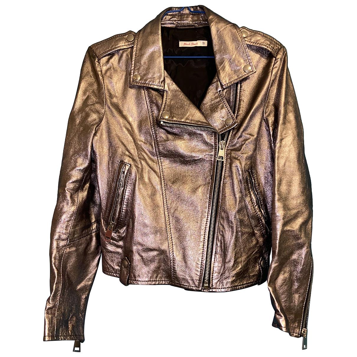 - Veste   pour femme en cuir - metallise