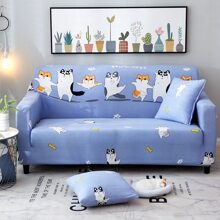 Cartoon Graphic Sofa Cover Without Cushion