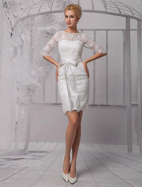 Milanoo Vestido de novia de encaje con escote redondo y lazo hasta la rodilla