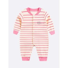 Baby Girl Striped & Cartoon Patched Jumpsuit