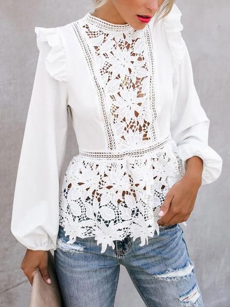 Milanoo Blusa de encaje blanco con cuello redondo de joya Tops de manga larga sexy