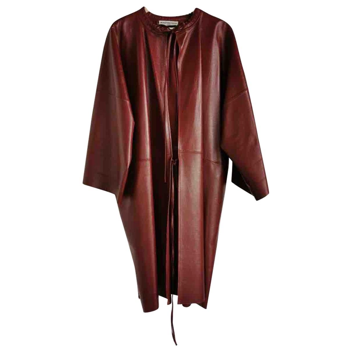 Balenciaga \N Burgundy Leather coat for Women 36 FR