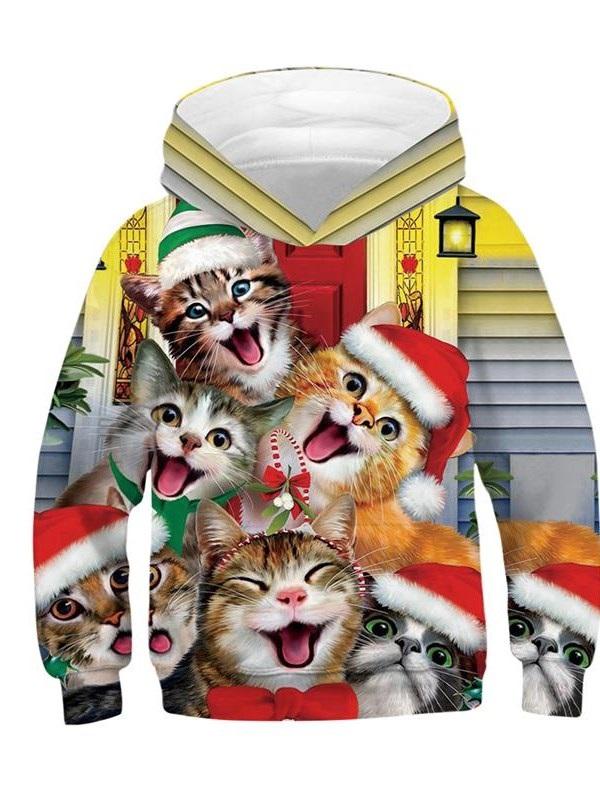 Christmas Happy Cats Pattern 3D Painted Long Sleeve Kid's Hoodie