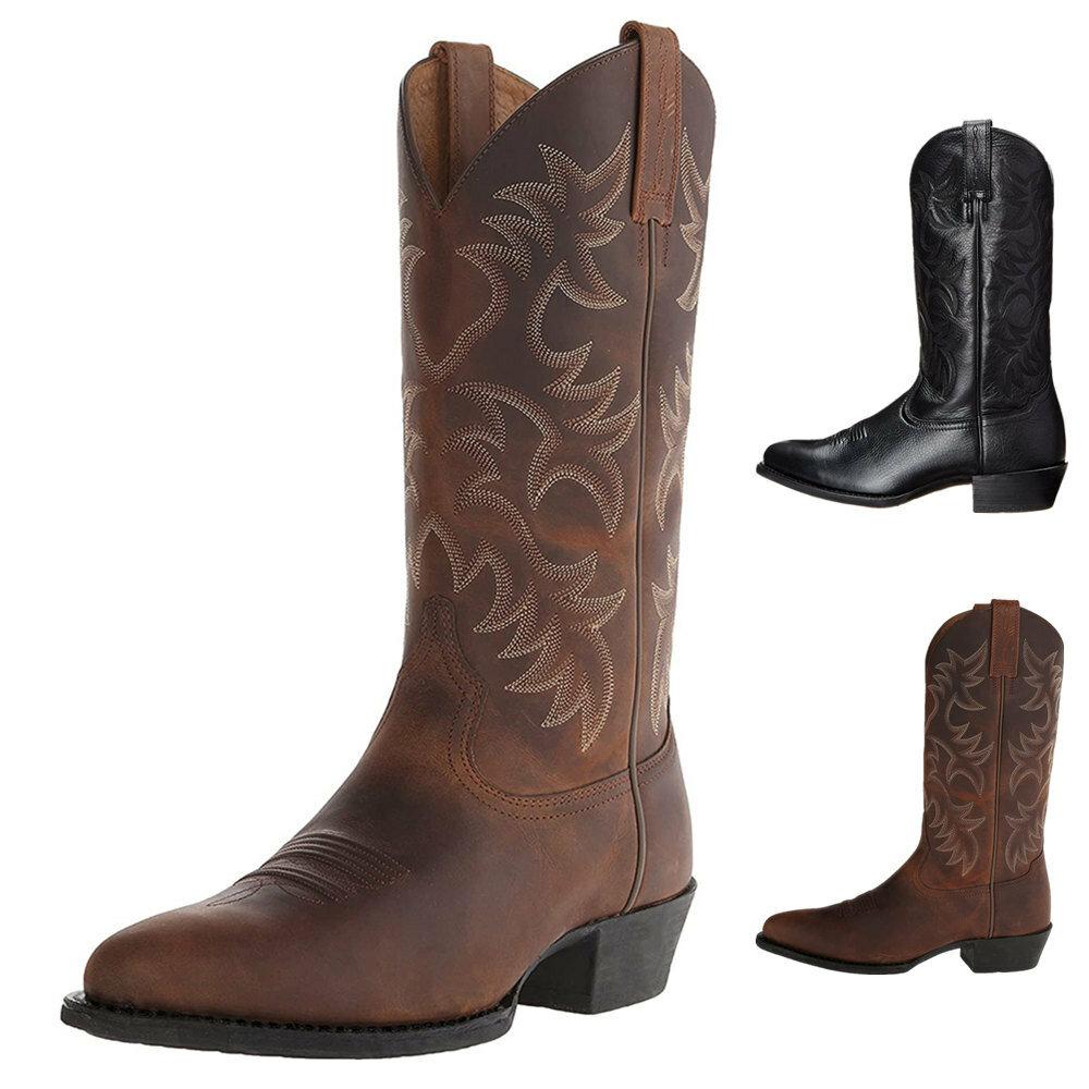 Men Classic Pointed Toe Mid-calf Cowboy Boots