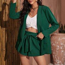 Shawl Collar Flap Detail Blazer & Belted Shorts Set