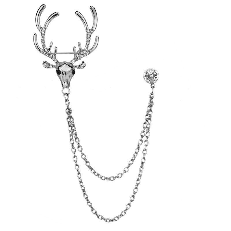 Fashion Elk Pins Animals Sliver Gold Plated Rhinestone Chain Tassles Brooches Pins Cute Jewelry