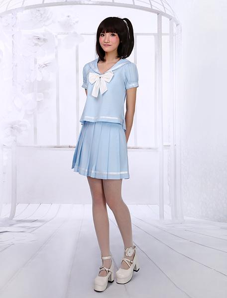 Milanoo Ligero Azul Lolita Blusa Falda Traje Sailor Estilo