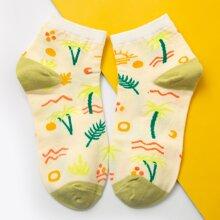 Socken mit Farbblock und Grafik