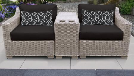 Coast Collection COAST-03b-BLACK 3-Piece Patio Wicker Set with 1 Cup Table  1 Left Arm Chair and 1 Right Arm Chair - Beige and Black