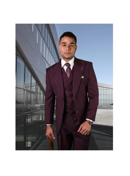 Brand Mens REGULAR FIT PLEATED PANTS ITALIAN Wool FABRIC Vest Burgundy