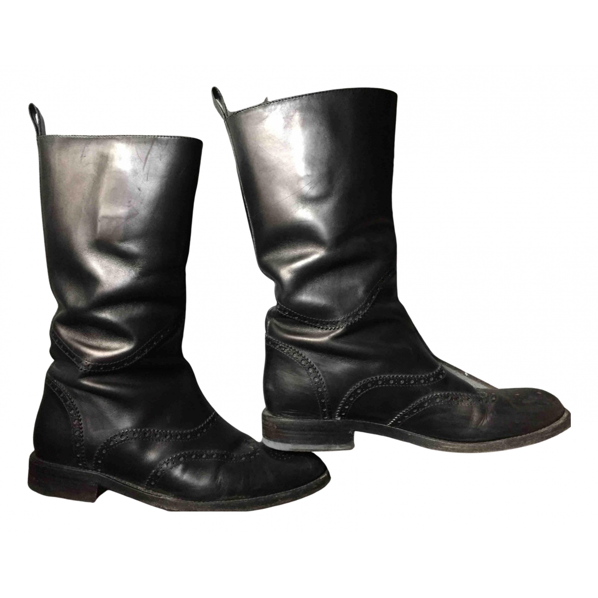 Gucci N Black Leather Boots for Women 38.5 EU