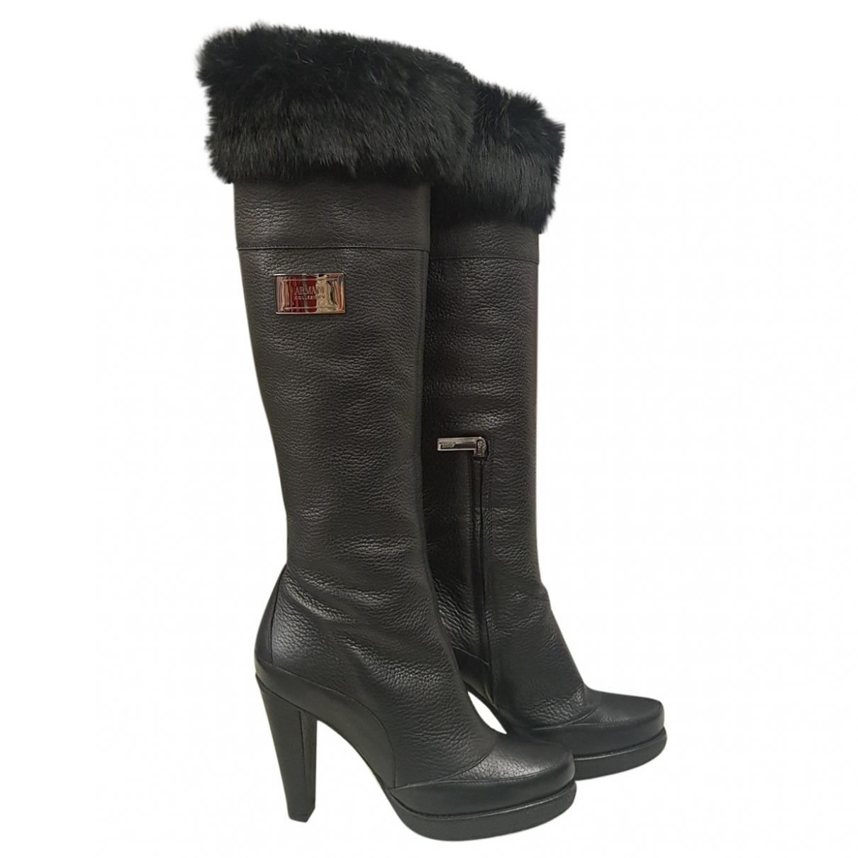 Armani Collezioni \N Black Leather Boots for Women 37.5 EU