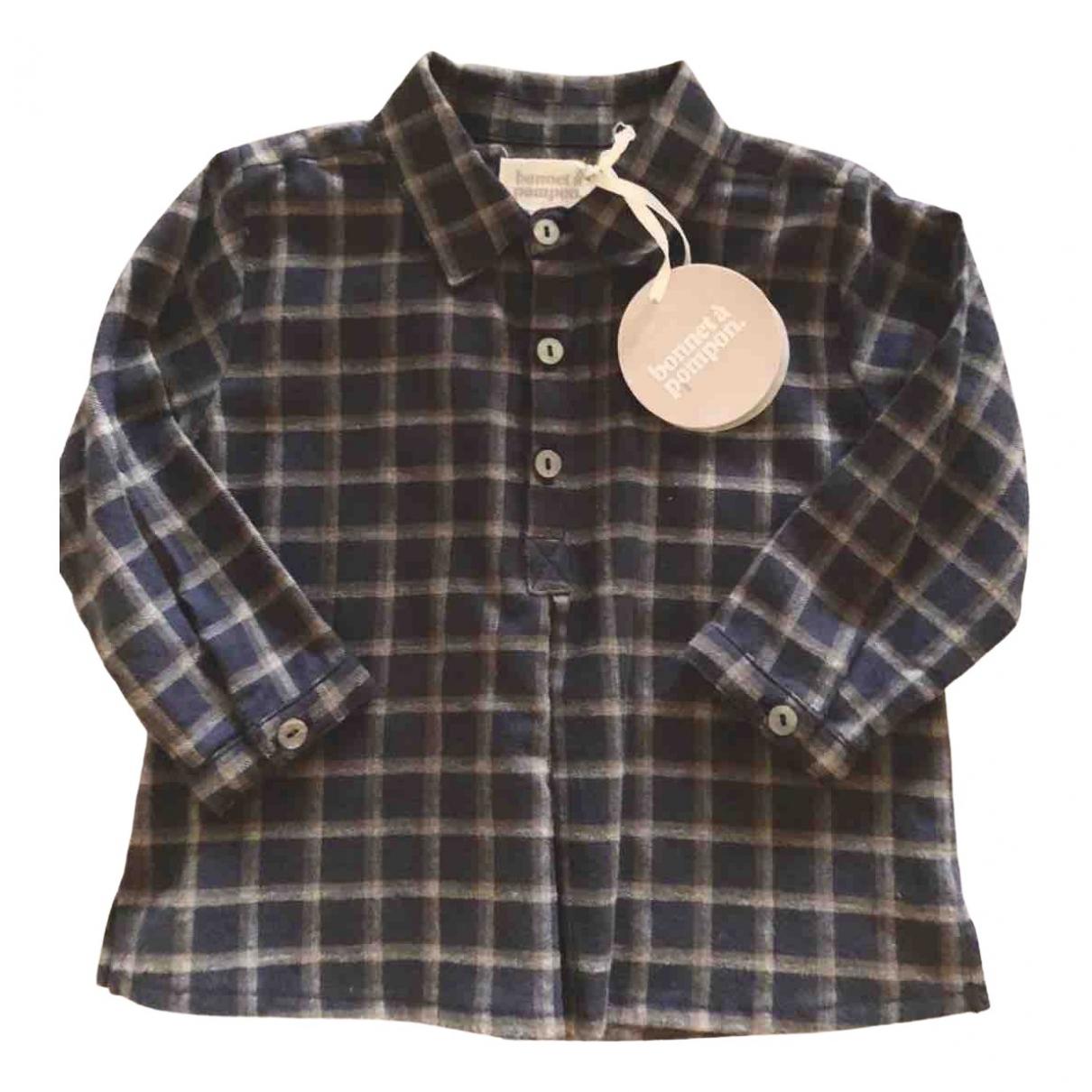Bonnet A Pompon - Top   pour enfant en coton - bleu