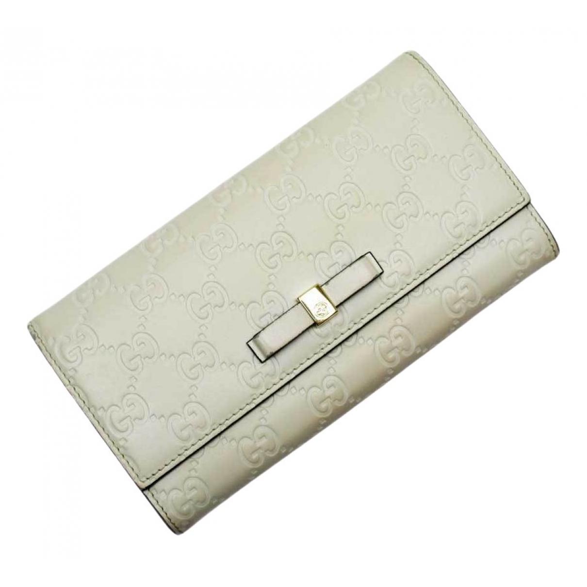 Gucci - Portefeuille   pour femme en cuir - ecru