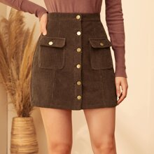 Flap Pocket Front Button Up Cord Skirt