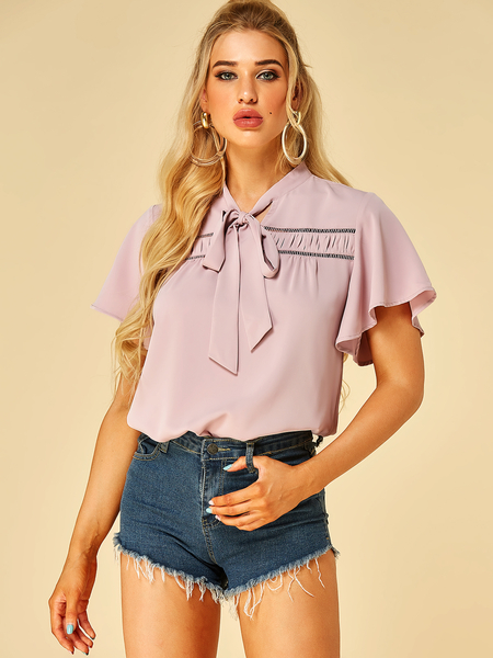 YOINS Pink Bowknot Stand Collar Short Sleeves Blouse