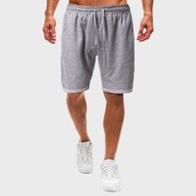 Grau  Taschen  Einfarbig Laessig Maenner Shorts
