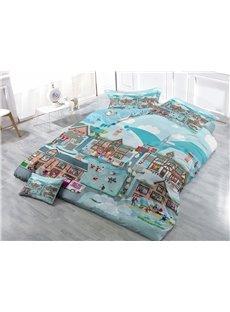 Joyful Winter Wear-resistant Breathable High Quality 60s Cotton 4-Piece 3D Bedding Sets