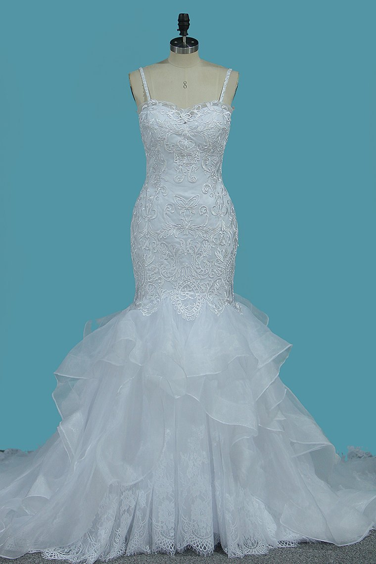 BMbridal Gorgeous Straps Sweetheart Mermaid Wedding Dress Tulle Lace Appliques Ruffles Bridal Gowns Online