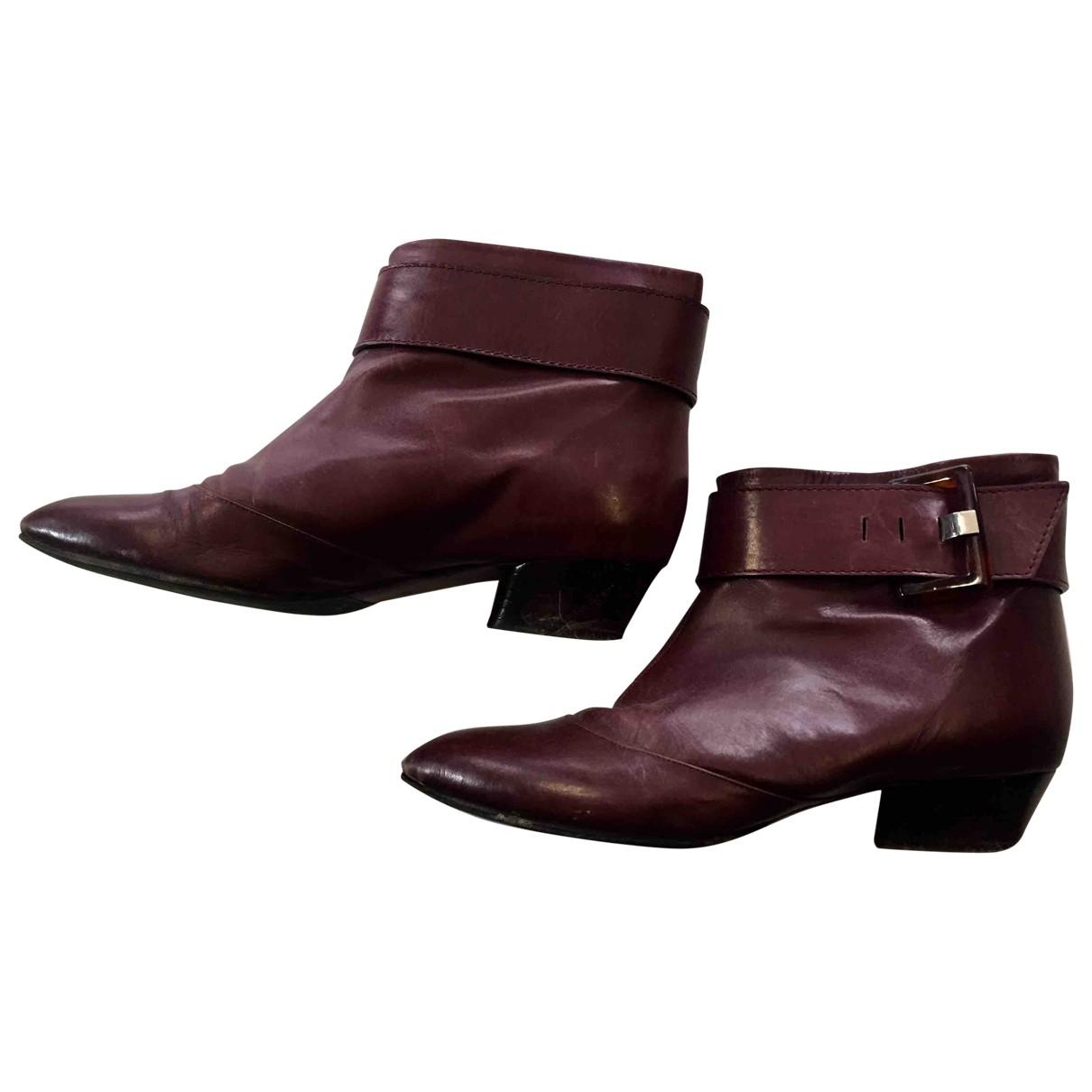 Marc Jacobs - Boots   pour femme en cuir - bordeaux