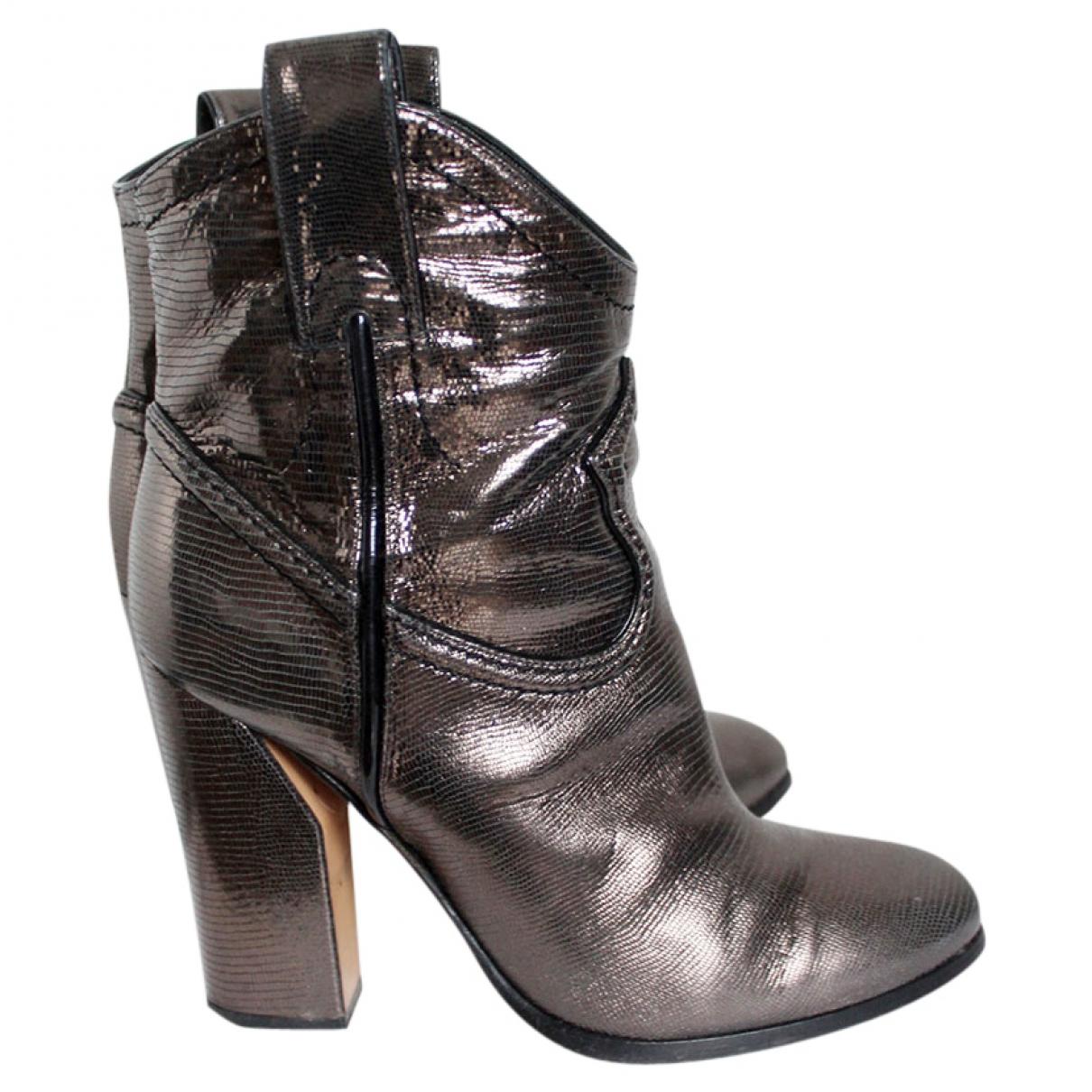 Casadei - Boots   pour femme en cuir - argente