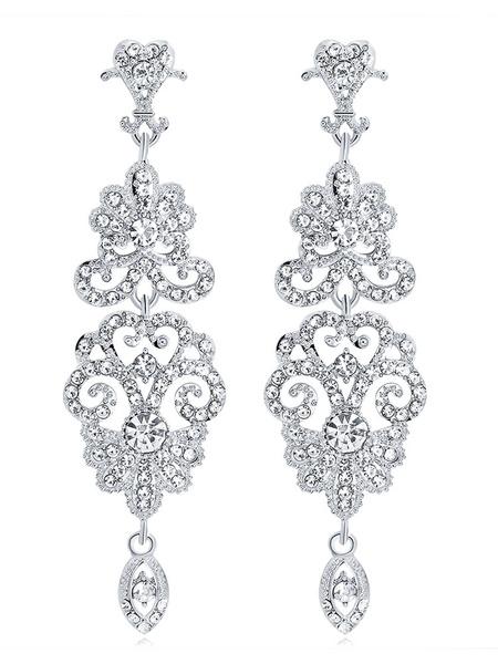Milanoo Statement Chandelier Earrings Silver Rhinestone 1920s Vintage Flapper Jewelry Evening Earrings