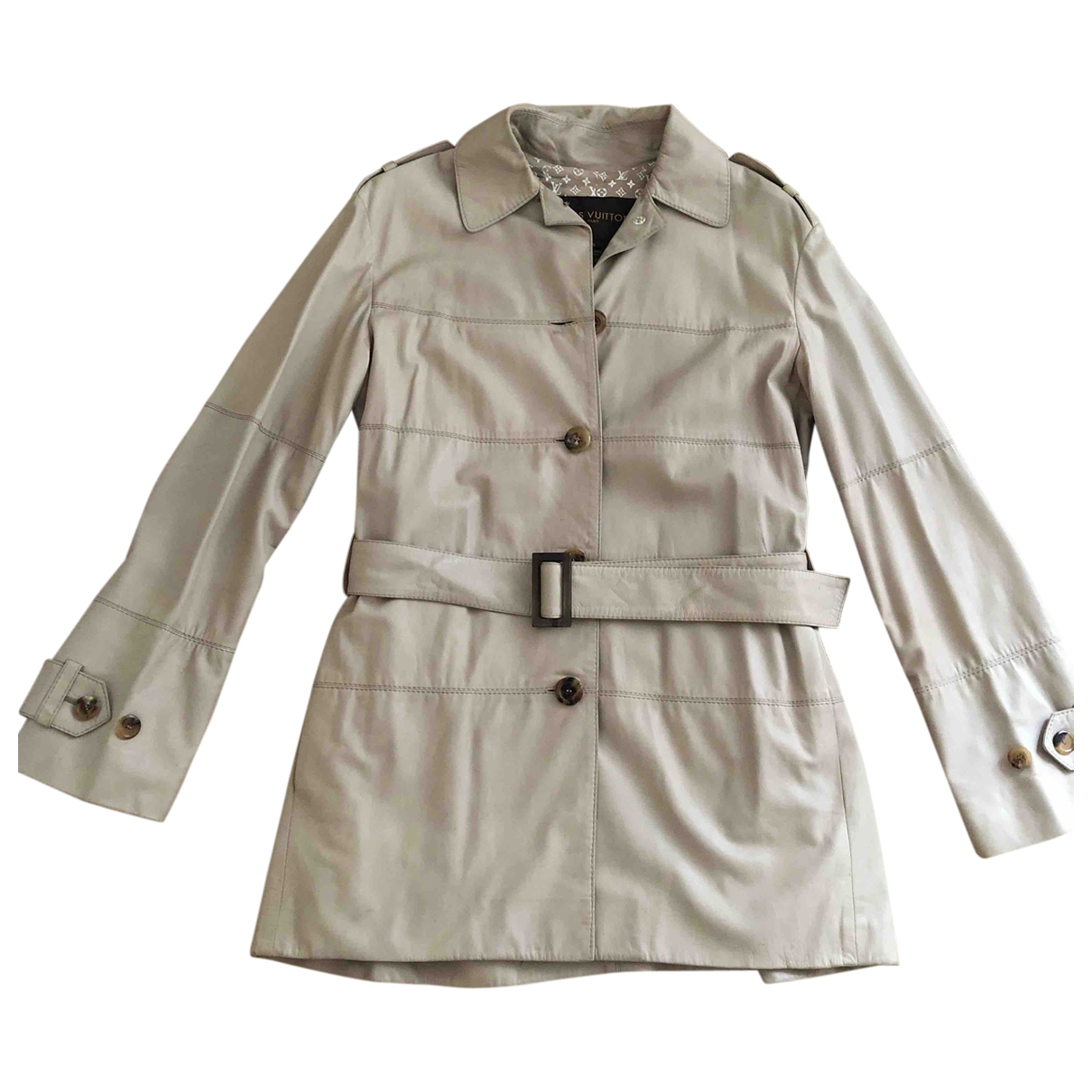 Louis Vuitton \N Beige Leather Trench coat for Women 40 FR