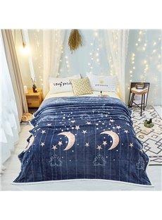 Starry Night Blue Sky Super Soft Worthy Flannel Blanket